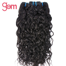 Malaysian Water Wave Hair Extensions 1pcs 100% Human Hair Weave Bundles GEM BEAUTY Hair Products Non-remy Hair Natural Black 1b