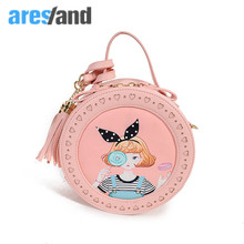 Aresland Cute Handbag for Girls Circular Shoulder Bag Mini for School Girl Korean Style Taseel Bolsas Femininas Messenger(China)