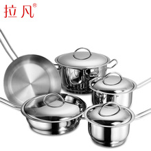 Free Shipping Top Quality Cooking Tools 9PC Of 304 Stainless Steel Cookware Set Milk Pot+Stockpot+Frying Pan+Wok Ollas Cocina(China)