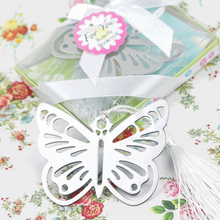 10pcs/lot Metal Hollow Butterfly Silver Bookmarks 7*6cm Stationery marker Wedding party favor baby shower supplies(China)