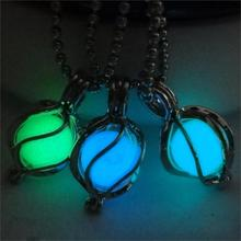 2017 Vintage Fluorescent Luminous Necklace Bronze Chain Glow In Dark Ball Pendant Necklace Women Jewelry for Noctilucent Gift