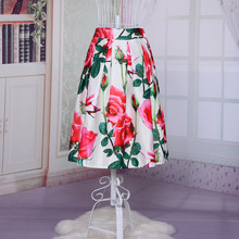 2015 summer new fashion ladies midi skirts rose printing pattern tutu skirts white and black flax material umbrella skirt(China)