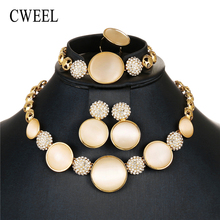 CWEEL Luxury Opal Jewelry Sets For Women Wedding Bridal Dubai African Beads Jewelry Set Nigerian Imitation Crystal Jewellery(China)