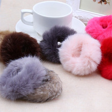 Cute Elastic Rabbit Hair Ball Girls Ponytail  Hair Band Accessories Headwear 30 colors for your choice