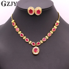 GZJY Vintage Yellow Gold Color Natural Red Zircon Bridal Necklace Earrings Jewelry Set Women Wedding Engagement Party Gift - Store store