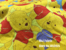 50*165CM Winnie the Pooh Bear knitting Cotton Fabric Printed Tissu Telas DIY Patchwork Sewing Baby girl Clothing(China)