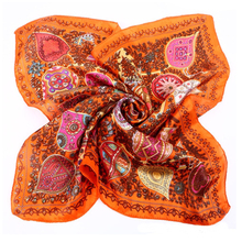 [LESIDA] 2016 NEW Paisley Print Small Square Satin Bandana Pure Silk Neck Accessories For Women's Scarves Yellow bandana XF1005