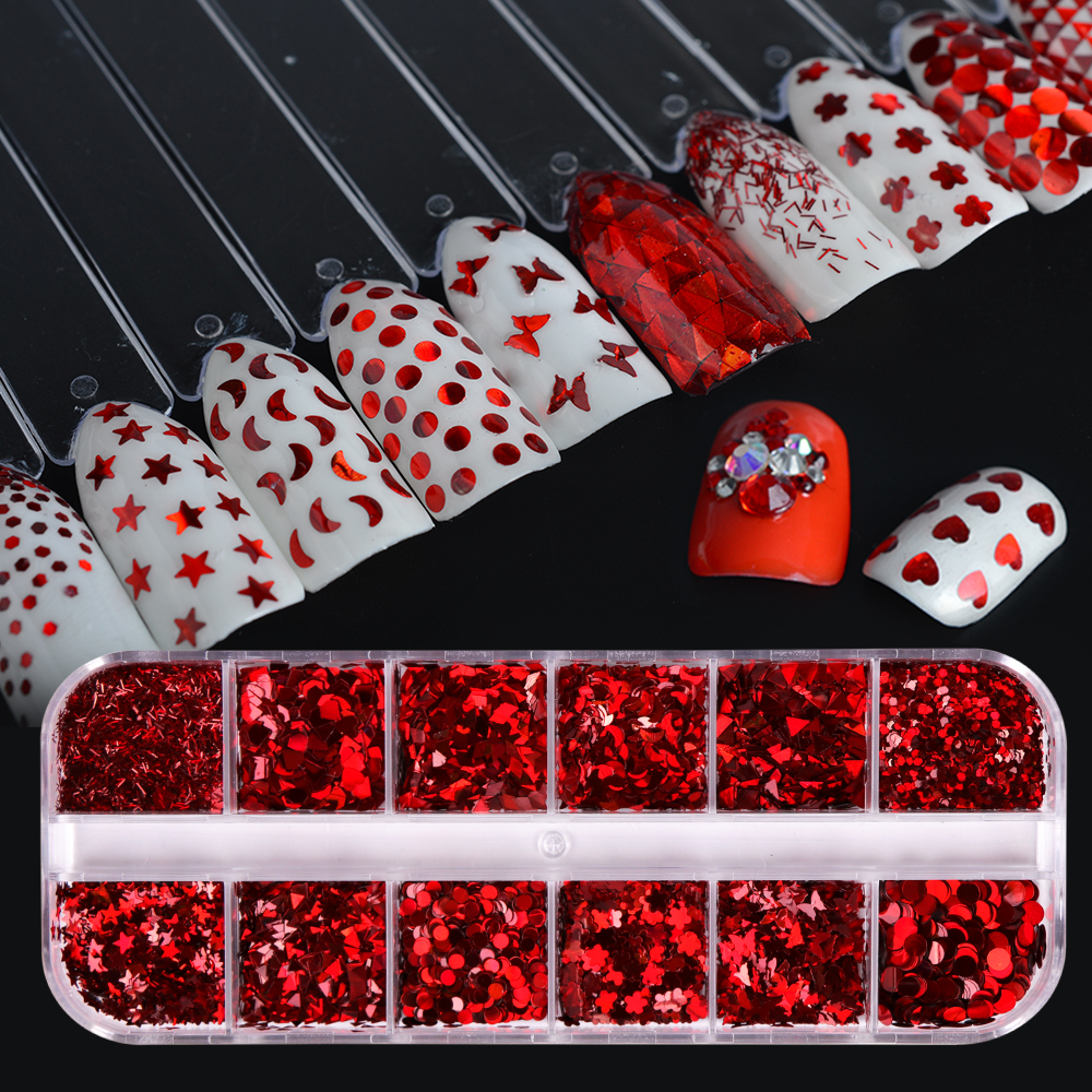 Red Shape Nail Sequins Paillee