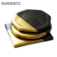 DUNXDECO Table Placemat Coffee Cup Pad Coasters Ceramic Cork Coaster Mat European Modern Black Golden Geometric Art Desk Decor(China)
