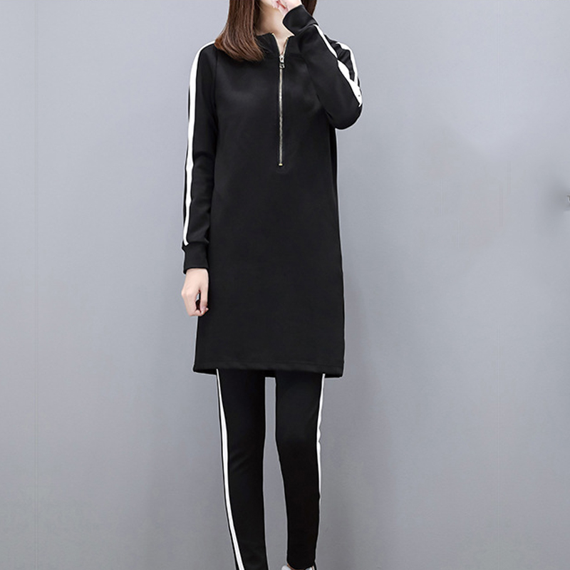 Women Sets Pants Hoodie Clothing Two-Piece-Sets Long-Sleeve Black Plus-Size Girl Fit title=