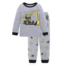 Digger Vehicle Baby Boys Clothes Suits 100% Cotton Children Pajamas Kids Sleepwear Sets Nightgown PJ'S Long Tees Shirts Pant Set(China)
