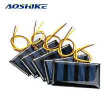Aoshike 10pcs 2V 60MA Mini Solar Panel Polycrystalline Solar Cell DIY Solar Support 1.2V Battery Charger 59*34MM