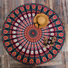 Round Multifunctional Bohemian Swim Beach Yoga Mat Towel Geometric Retro Towel 150cm Women Chiffon Shawl Type VER16 T15 0.5(China)