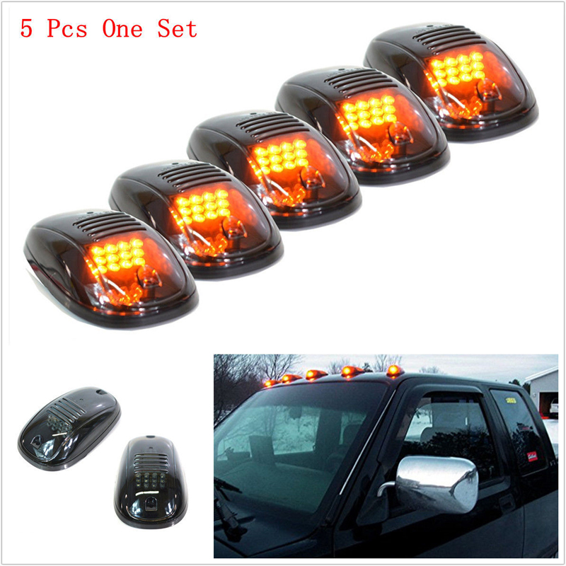 5pcs/set Car Auto Smoked Amber Cab Roof Top Running LED Light for Truck SUV Pickup 4x4 Car External Lights Decorative Lamp