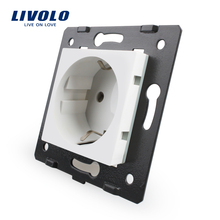 Livolo Socket DIY Parts, White Plastic Materials, EU standard, Function Key For EU Wall Socket, VL-C7-C1EU-11(China)