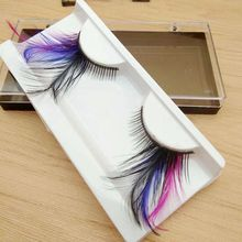 Colorful Purple Long Feather Costume Party Eye Lashes Profissional False Eyelashes Eyelashes Individual Eyelashes