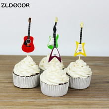 ZLDECOR Musical Instruments party cupcake toppers picks decoration for Kids Birthday party Cake favors Decoration supplies