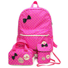 Cute Ladies Dot Printing Backpack Large Capacity School Bags for Teenagers Girls set pink bow kids' backpacks rucksack(China)
