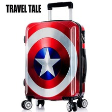 TRAVEL TALE 24Inch Vintage Suitcase on Wheels ABS British Flag Luggage Girls Trolley Case Men and Women Travel Luggage