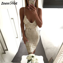 Buy Christmas sequined Backless Dress Sexy Womens Night Party Club Dresses strap Bandage dress Slim Clubwear Bodycon Dress for $20.45 in AliExpress store