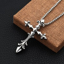 New Design Mens Cross Pendant Necklaces 27.5inch Long Chain Punk Mens Jewelry Best Selling Stainless Steel Fashion Necklace(China)