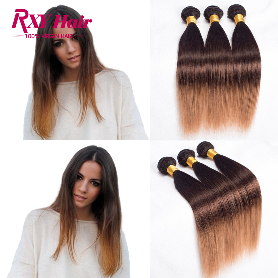 Top 7A Indian Virgin Hair Ombre Hair Extensions 1B/4/27 Ombre Human Hair Bundles 3 Pcs Indian Virgin Hair Straight Bundles Weave<br><br>Aliexpress