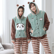 Autumn And Winter Lovers Cartoon Flannel Sleepwear Coral Fleece Long-sleeve Male's Or Women's Lounge Set(China)