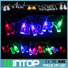 4M/20LED AC110V~220V Colorful Merry Christmas LED String Light Jingle Bell Snowman Holiday Lights for Party Wedding Decoration(China)
