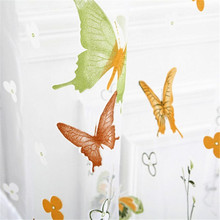 2017 New Butterfly Colored Curtains Pattern Curtains For Living Room  Tulle Voile Door Window Curtain Drape Panel Sheer DP222