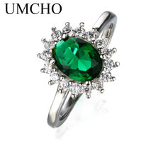 UMCHO Nano Russian Emerald 925 Sterling Silver Vintage Engagement Party Gift Rings For Women Wholesale Fine Jewelry(China)