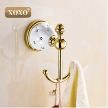 XOXONew Luxury Design Robe Hook,Clothes Hook,Solid Brass Construction Golden/Rose golden finish bath hardware accessory 10082GT