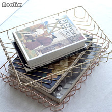 NOOLIM Nordic Rose Gold Desktop Storage Tray Retro Gold Wire Drawing Plate Home Storage Accessories(China)