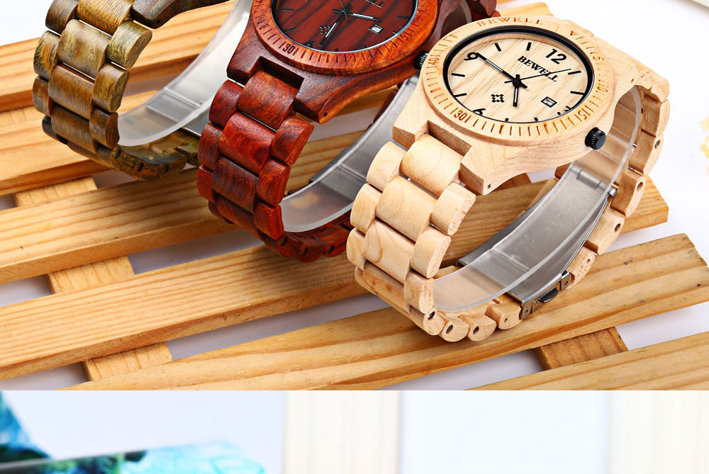 2017 BigBen Bewell Luxury Brand Wood Watch Men Analog Natural Quartz Movement Date Male Wristwatches Clock Relogio Masculino (16)