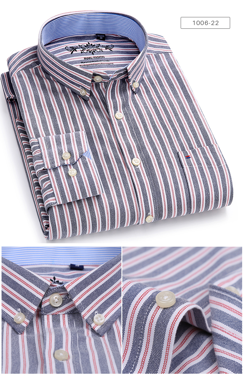 Men's Long Sleeve Contrast Plaid/Striped Oxford Dress Shirt with Left Chest Pocket Male Casual Slim-fit Buttoned Down Shirts 8