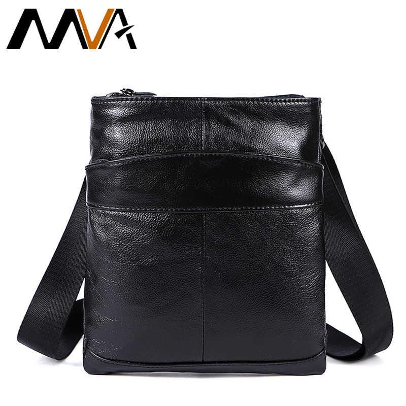 MVA мужская сумка-мессенджер из натуральной кожи мужская сумка с клапаном черная  Маленькая кожаная сумка 4af0c32021a