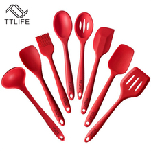 TTLIFE 2017 Newest 8 Pieces Silicone Cooking Tools Silicone Kitchen Utensils Set FDA Approved Silicone Utensil Set