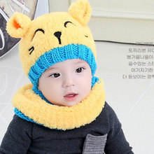 Lovely Baby Hat Winter Toddler Boys Girls Bear Pattern Keep Warm Hats Children Wool Knitted Crochet Hat +Scarf Set 6-36 Months