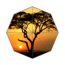 Sunset Tree Beauty Pine Custom Portable Folding Travel Design Rain and Sun Beach Umbrellas Hat Unique Parasol Umbrella