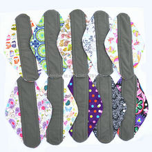 "[Sigzagor]3 Extra Large XL Overnight Reusable Bamboo CHARCOAL Mama Cloth Pad,Menstrual Sanitary Maternity Pads,14""/35cm 22 Print"