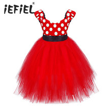 Baby Girls Pink Red Polka Dots Tutu Princess Bridesmaid Wedding Birthday Party Dress Girl Cloth for Kid 1-6Y