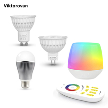 LED bulb E27 GU10 MR16 dimmable 9W 8W 5W 4W milight bulb with 4zone 2.4G led remote controller and wifi box RGB LAMP MI light