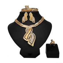 Wholesale Fashion African Jewelry Set Sparkling Gold Color Dubai Big Necklace Earrings Women Wedding Party Jewelry Sets Gift(China)