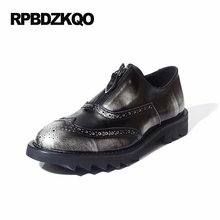 Zipper Loafers Brogue High Quality Wingtip Platform Oxfords Shoes Men Casual Leather Real New Silver Patent Hot Sale Autumn(China)