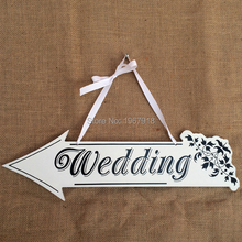 Free Shipping Wooden Wedding Signs Rustic Country Wedding Photo Props Wedding Wood Hanging Directional Signs Arrow with Ribbon