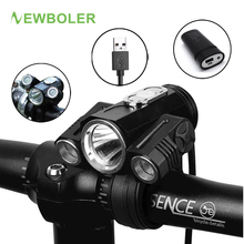 NEWBOLER Bicycle Light Adjust Angle Bike LED Front T6 Flashlight USB Rechargeable Battery 10000LM Cycling Lamp Bike Accessories(China)