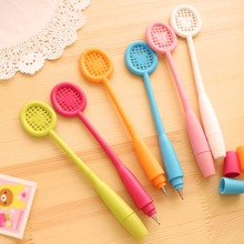3pcs / lot , Flexible Badminton Racket Shaped Ballpoint Pen , Bendable Ball Pen for Kids Gift as Office & School Supplies