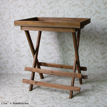 Screen Printing Aged Old Vintage Brown Solid Wood Folding Tray Table(China)