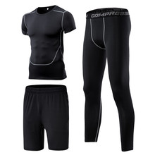 New Compression Running Training Suits Sport Clothing Basketball Jerseys Short Sleeve Gym Fitness Tights Track Suit 3 Pieces(China)