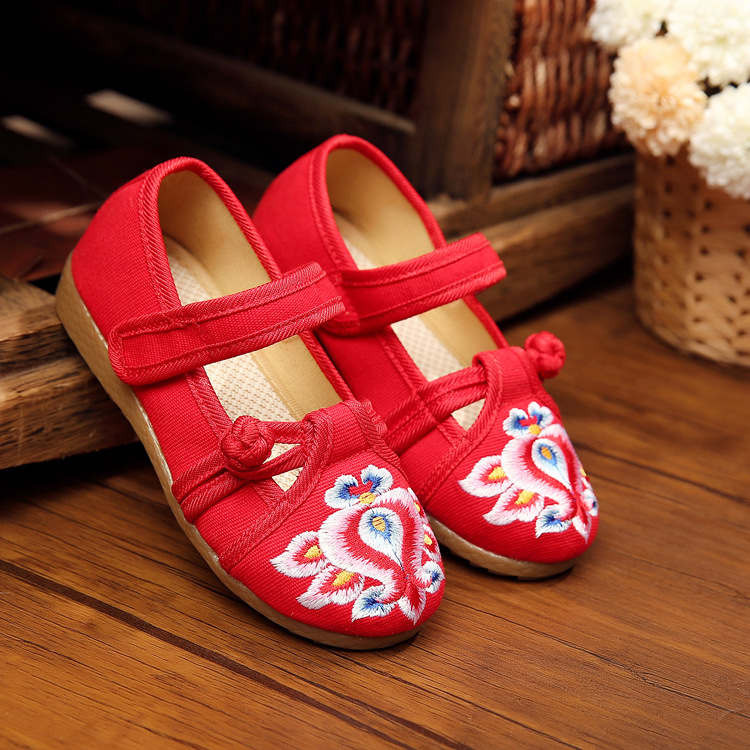 New chinese style fashion beautiful embroidery candy color child canvas flats shoes dance shoes for children foot length 15-19cm<br><br>Aliexpress