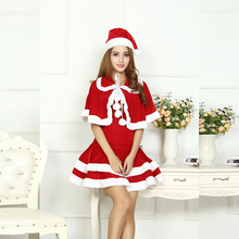 Sexy Adult Women Christmas Costume Halloween Party Sweetheart Miss Santa CosPlay Dress+Doll Collar Cape + Christmas Hat 3pcs/Set(China)